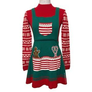 Gingerbread Man Holiday Sweater Dress